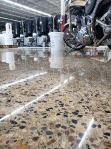 Freshly polished concrete automobile shop floor